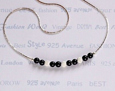 Solid 925 Sterling Silver Chain Black ONYX  Necklace dainty Everyday wear