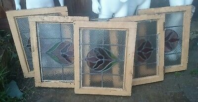 6 x Vintage Stained Glass Windows