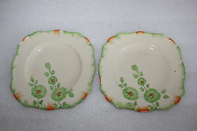 "Two J & G Meakin Sunshine 6.5"" Plates Hand Painted Floral Pattern"