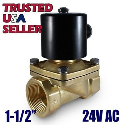 "1-1/2"" 24V AC Electric Brass Solenoid Valve Water Air Gas 24 VDC - FREE SHIPPING"