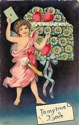 Valentine~Pink Gown Cupid Puts Card In Daisy Mailbox~Black Back~Art Nouveau~Emb