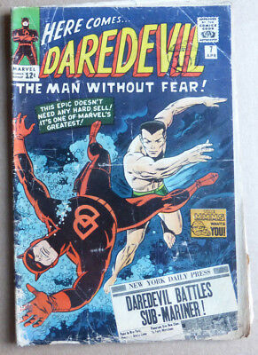 DAREDEVIL #7, 1st APP OF RED COSTUME, CLASSIC COVER WITH SUB-MARINER, 1965.