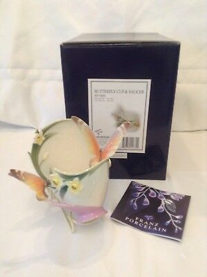 Franz Porcelain Orange Butterfly Cup,saucer,spoon Mint Condtion In Original Box