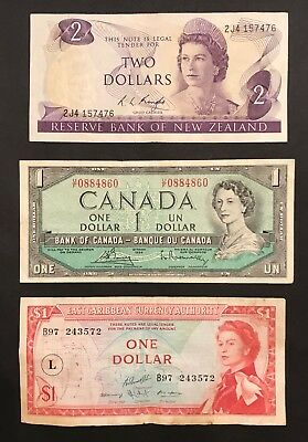 British Empire - 3 x Banknote Collection - New Zealand, Canada, Caribbean (1508)