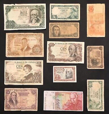 Spain - 12 x Mixed Banknote Collection - Bank of Spain. (1512)