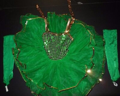 NWOT Dance COSTUME Dressup Green Sequin Leotard 3 Layer Tutu Girls 2 Child Tot