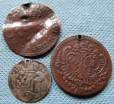 Lot 3 1700s Old Coins German States Kreuzer France Colonial Cayenne 2 Sous-Holed
