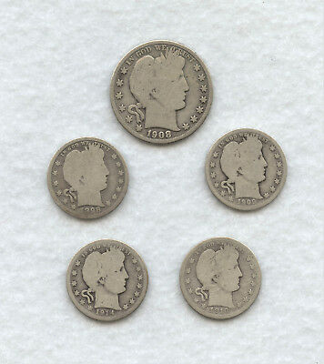 Lot Of 5 Barber Coins: 1-Barber Silver Half Dollar and 4-Barber Silver Quarters