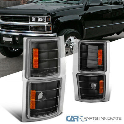 1994-1998 Chevy C10 C/K Silverado Black Corner Turn Signal Lights+Amber Pair