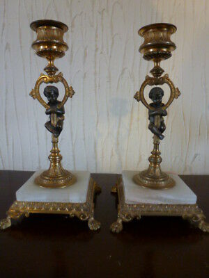superb pair of small ormolu & bronzed Victorian candle sticks