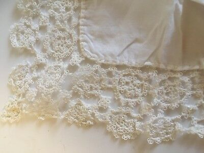Antique Cotton and Lace Embroidered Wedding Handkerchief lot 53 Hankies