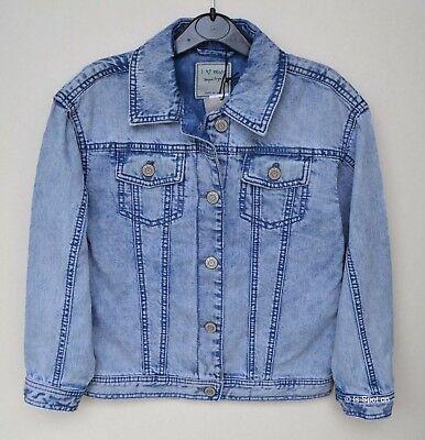 Girls Next Blue Snow Wash Denim Jeans Jacket Coat, Age 9 years, RRP£26, BNWT