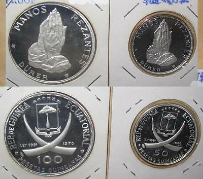 1970 Equatorial Guinea Manos Rezantes 100 + 50 Ps Proof Silver 2 Coins