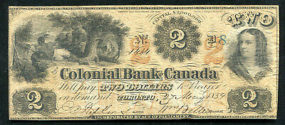 1859 $2 Two Dollars The Colonial Bank Of Canada Toronto Chartered Note