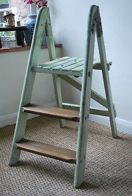 original vintage shabby chic distressed paint finish folding step ladder steps