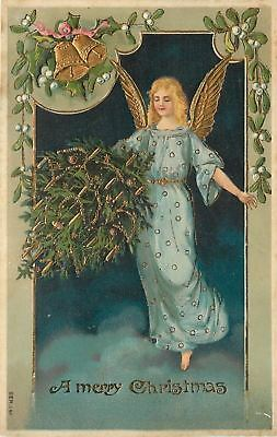 Christmas~Blonde Angel in Blue Tiptoes on Cloud~Carries Decorated Tree~Gold Leaf