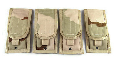 Lot of 4 Double Mag Pouches Desert Camo, New, DCU Molle Double Magazine US Army