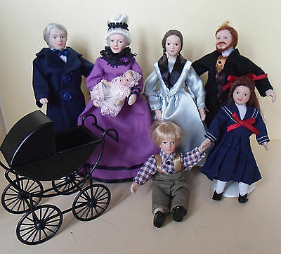 Dolls House Miniature Victorian  Family with FREE Pram for Baby  1:12