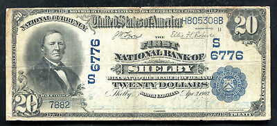1902 $20 First Nb Of Shelby, Nc National Currency Ch #6776 Unique Date Back