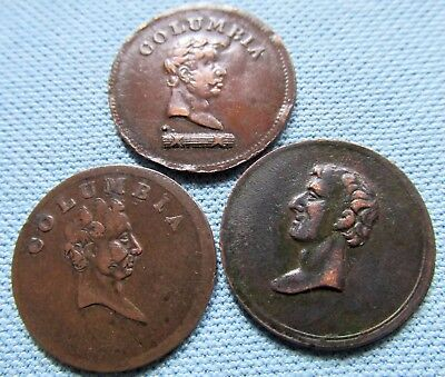 Lot of 3 1800s Columbia Farthing Tokens Great Britain Colonial Canada Coppers
