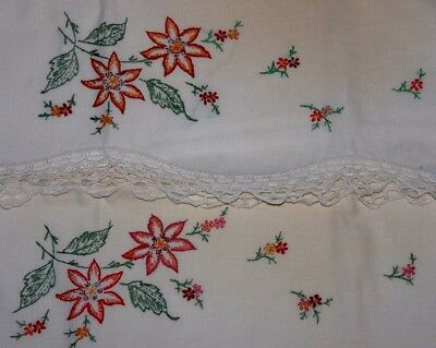 VINTAGE PAIR of Hand-Embroidered Pillowcases, Red Orange Flowers, 28 x 21 VGUC!