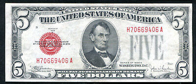 1928-E $5 Five Dollars Red Seal Legal Tender United States Note About Unc (E)