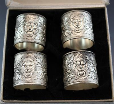 Antique Victorian Set of 4 Lion Head Silverplate Napkin Rings in Box