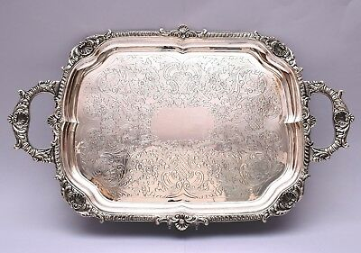BEAUTIFUL SOLID SILVER TRAY. HAND ENGRAVED. 1653 grams / 58 ounce. LENGTH 61 cm