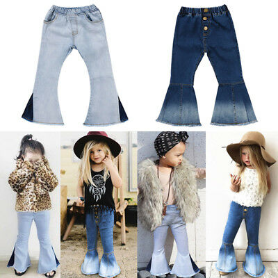 AU Stock Kid Baby Girl Denim Bell Bottom Pants Jeans Hit Color Wide Leg Trousers