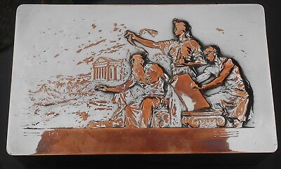 Wmf Classical Scene Silver Plated Cigar Cigarette Box - Antique