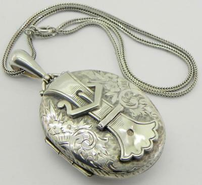 Large Victorian Solid Silver Locket & Chain, Birmingham 1882, By AH&Co.
