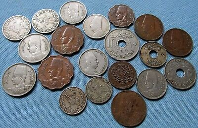 Lot of 20 Old Ottoman & Egypt Coins Milliemes Qirsh to Identify Mixed Unknowns