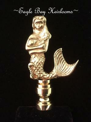 "Solid Brass -Table Lamp Finial - MERMAID -Polished Brass- Nautical Theme - 3"" H"