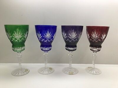 Set of 4 Ajka Chevron Blue Red Purple Green Cut To Clear Crystal Wine Glasses
