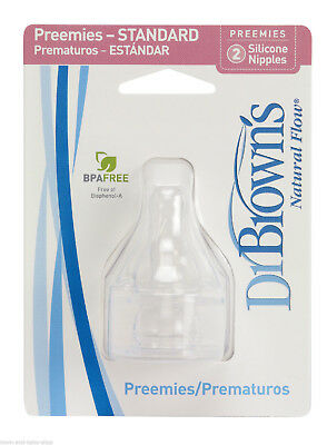 Dr. Brown's HAN297 Silicone Preemie Bottle Replacement Nipples Free Shipping