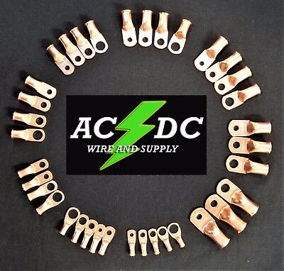 AC/DC WIRE Bare Copper Lug Ring Terminals Battery Wire Welding Cable AWG