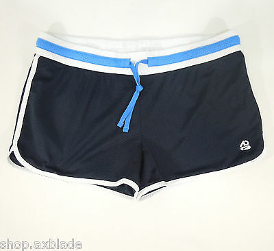 NIKE Women's Athletic Black Shorts with White-Blue Trim size XL