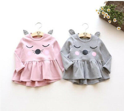 Cute Toddler Kid Baby Girl Cartoon Long Sleeve Dress Outfit Animal Print Clothes