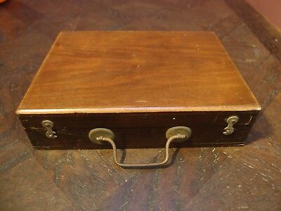 ANTIQUE VINTAGE SMALL FITTED WOODEN ARTIST'S PAINT BOX c1910
