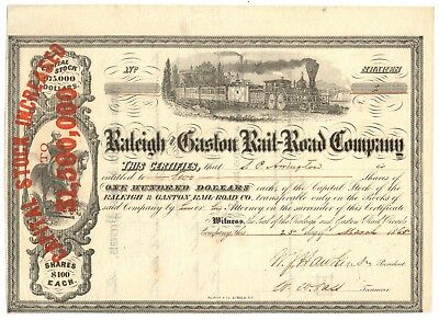 2 Shares Raleigh & Gaston Rail-Road Company Stock Certificate - Civil War Dated