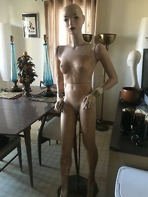 Antique Vazah MANNEQUIN Vtg Female Full size Signed W/ Stand