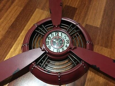 Large Metallic Vintage Aircraft Propeller Wall Clock Brown In Color