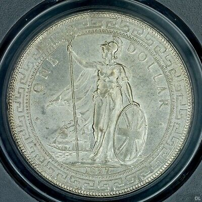 Trade Dollar 1897 (B) PCGS MS62 Great Britain Silver UNC Nice Luster Better Date