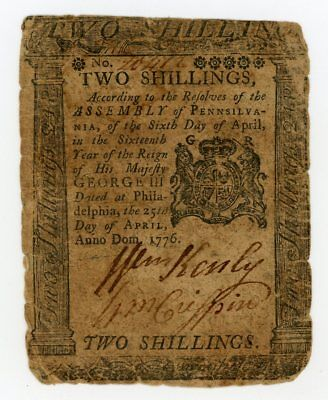 (PA-203) April 25, 1776 2s PENNSYLVANIA Colonial Currency Note - NO RESERVE!
