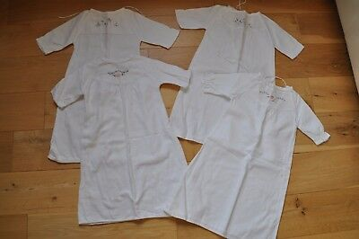 x4 Vintage 1960's Mothercare Flannelette baby nightgowns night dresses 0-3months