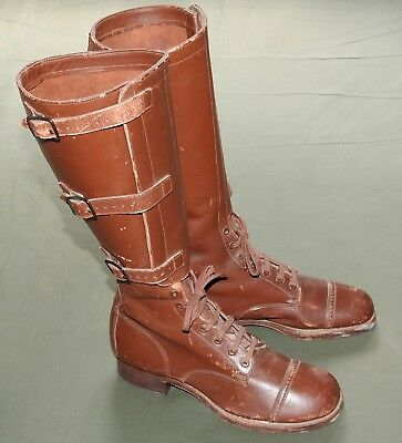 US Army WW2 CAVALRY HARLEY-DAVIDSON WLA MOTORCYCLE 3 BUCKLE LEATHER RIDING BOOTS