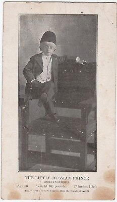 RARE - Cabinet Photo Card - Little Russian Prince ca 1890s Smallest Dwarf Midget