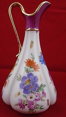 Beautiful French Limoges floral gilt lip jug 14.5cm Tall
