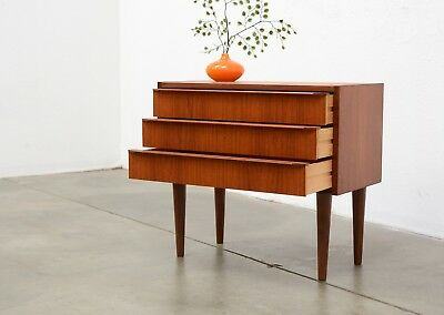 1960s Danish Modern TEAK Small Scale Chest Drawers Entry Table Mid Century