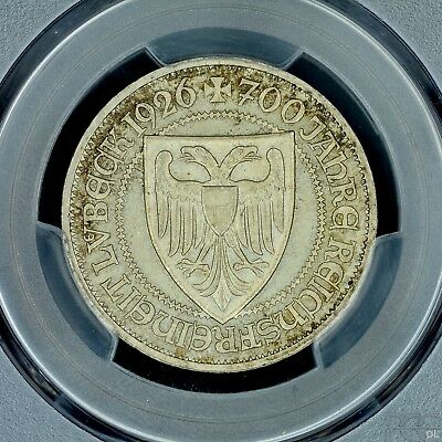 3 Mark 1926-A PCGS MS64 Germany Weimar Lubeck Silver Coin Choice UNC Nice Patina